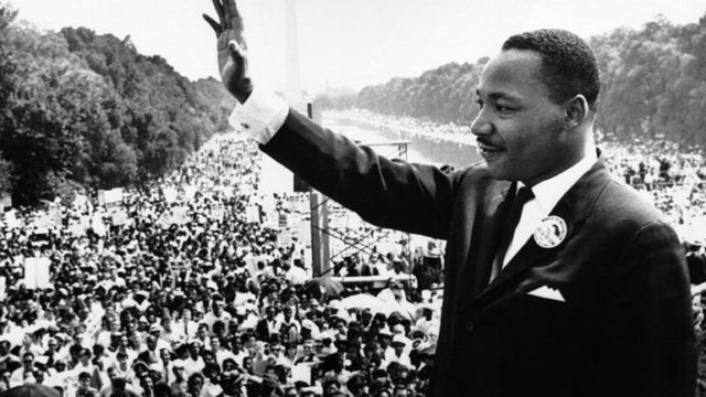 Martin Luther King Jr. addressing a crowd from the steps of the Lincoln Memorial, 1963