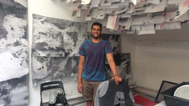 Tahir Karmali in his studio at Trestle Gallery, Brooklyn, June 2017