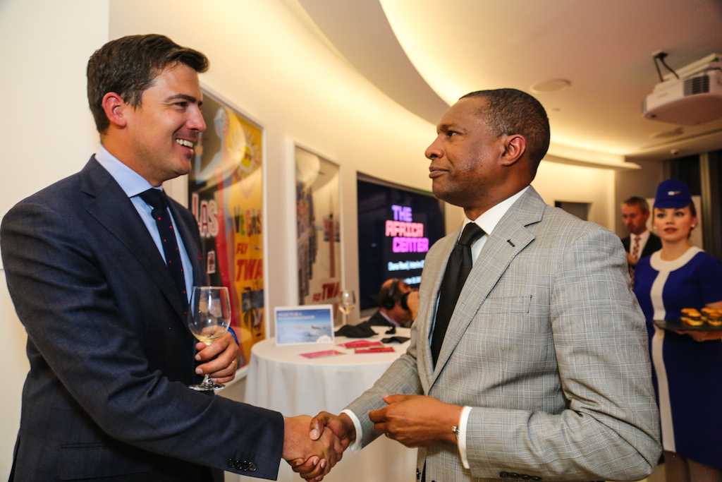 Christophe Allard, Director North America, Brussels Airlines, shakes hands with H.E. Mr. Jean-Claude Félix do Rego, Permanent Representative of Benin to the United Nations.