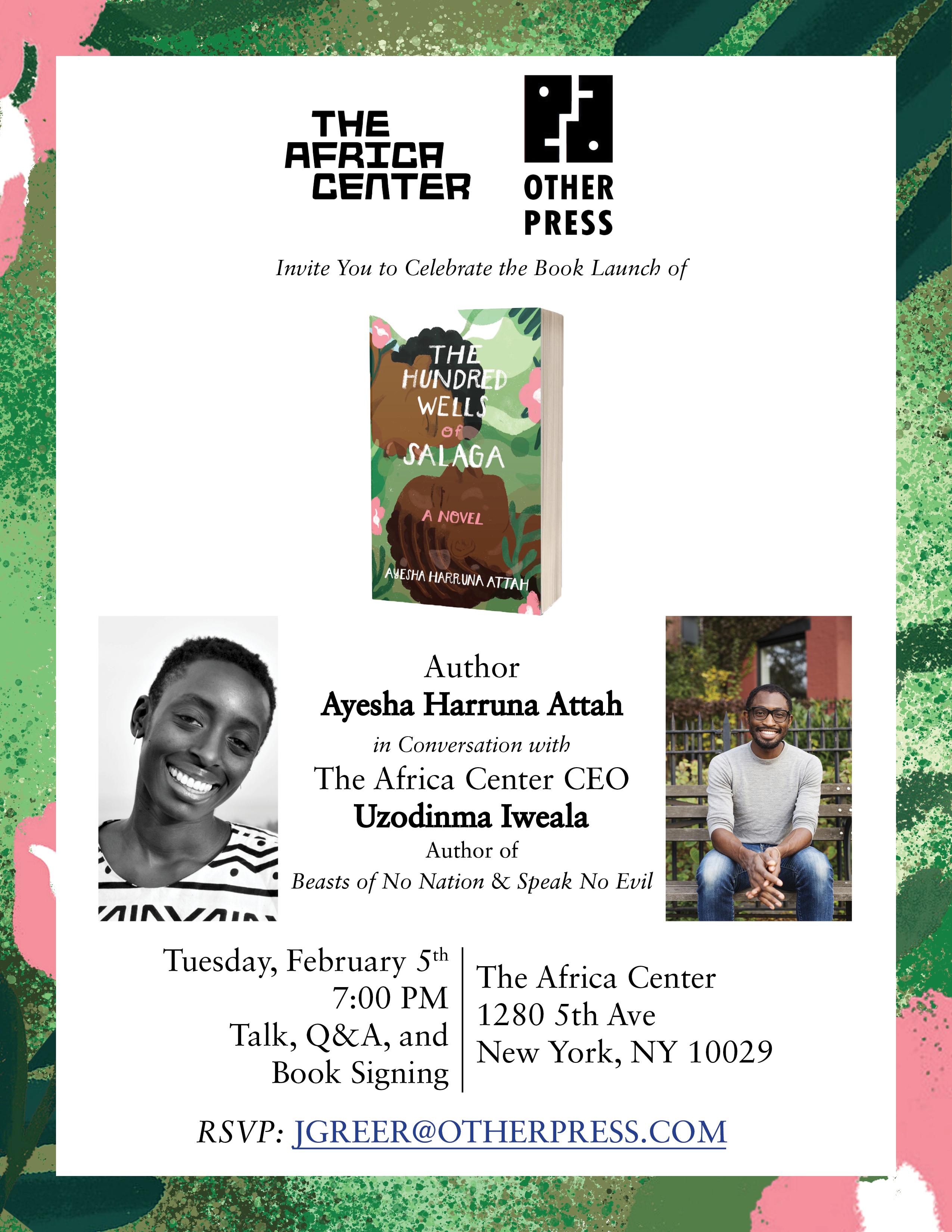 Flyer for Ayesha Harruna Attah Book Launch